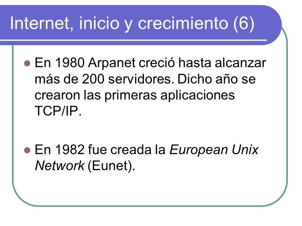 Internet, inicio y crecimiento (17) En 1992 el número de servidores supero el millón y se crea la Internet Society.