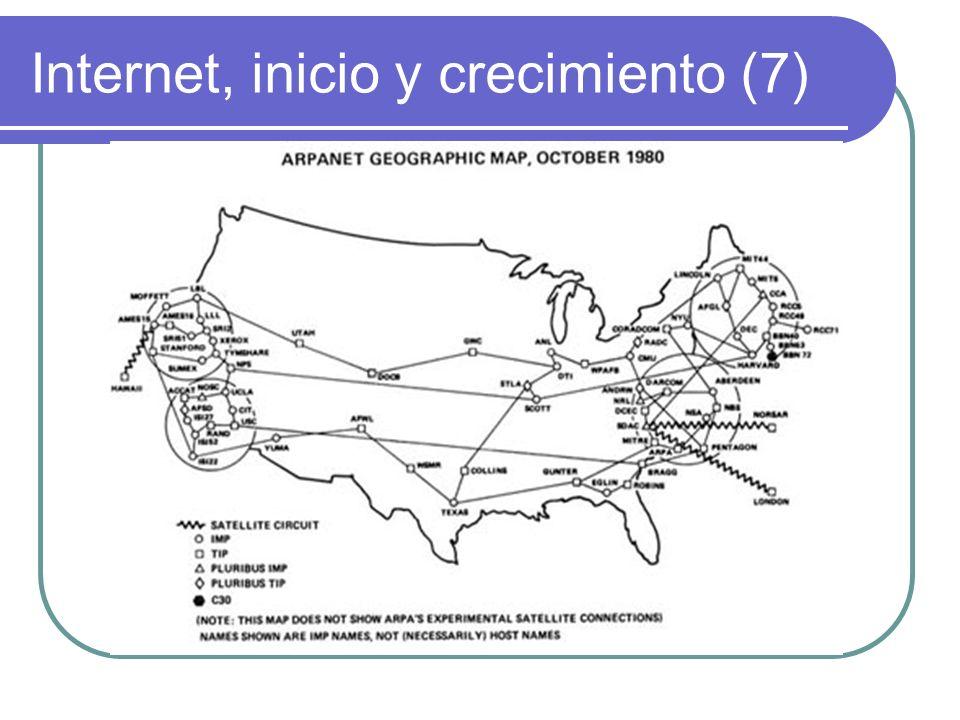 Internet, inicio y crecimiento (8) 1983 fue la fecha de nacimiento de internet propiamente dicho, contaba ya con más de 500 servidores En dicho año el Departamento de defensa de los EEUU se separó de Arpanet formando Milnet y Arpanet dio paso a Internet (La red de redes)