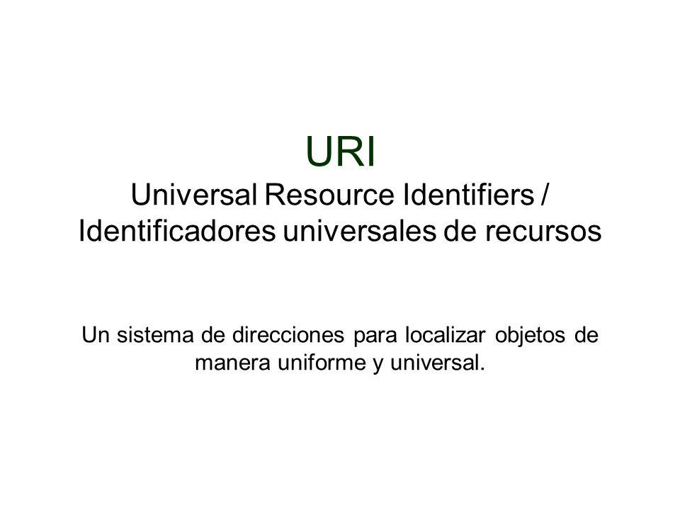 URI Universal Resource Identifiers / Identificadores universales de recursos Un sistema de direcciones para localizar objetos de manera uniforme y uni