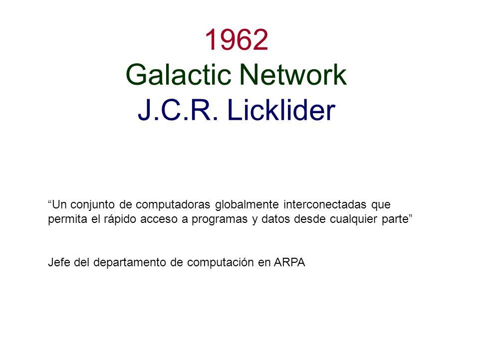 1962 Galactic Network J.C.R. Licklider Un conjunto de computadoras globalmente interconectadas que permita el rápido acceso a programas y datos desde