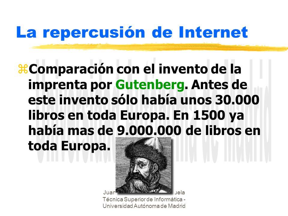 Juan Alberto Sigüenza - Escuela Técnica Superior de Informática - Universidad Autónoma de Madrid La repercusión de Internet zComparación con el invento de la imprenta por Gutenberg.