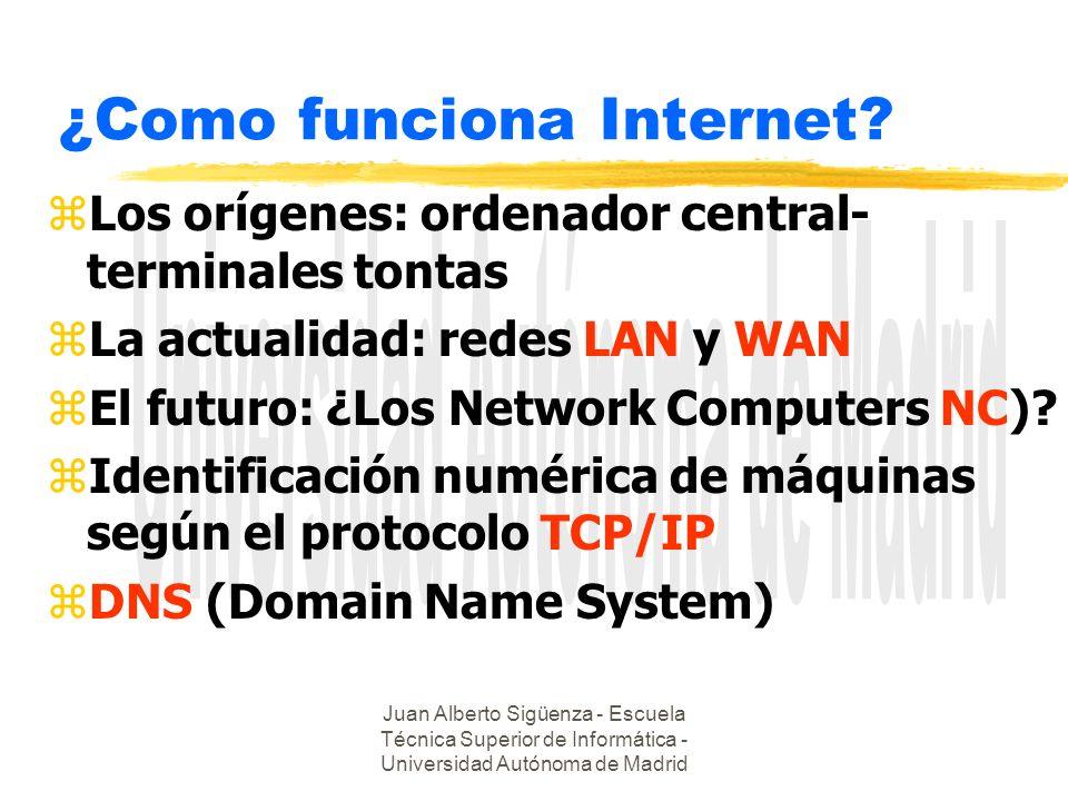 Juan Alberto Sigüenza - Escuela Técnica Superior de Informática - Universidad Autónoma de Madrid ¿Como funciona Internet? zLos orígenes: ordenador cen