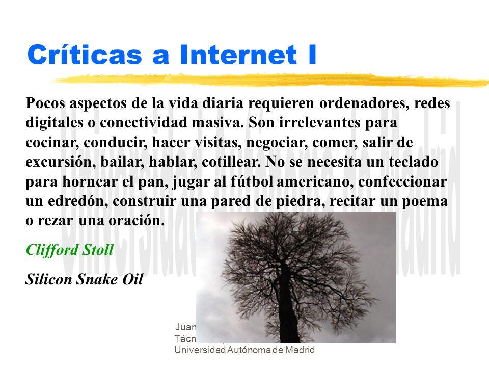 Juan Alberto Sigüenza - Escuela Técnica Superior de Informática - Universidad Autónoma de Madrid Críticas a Internet I Pocos aspectos de la vida diari