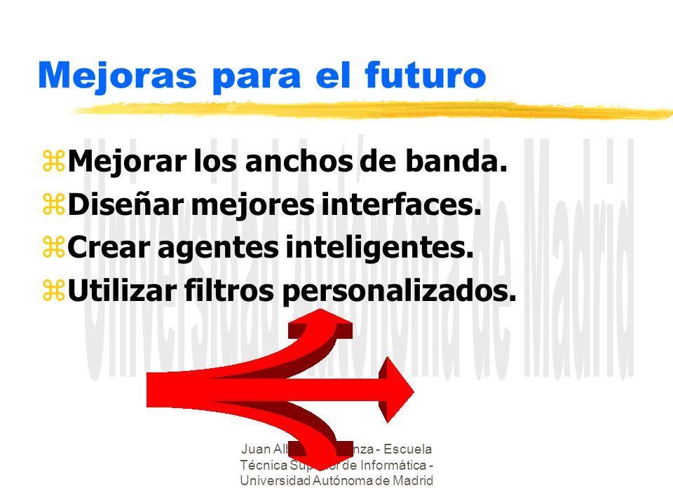 Juan Alberto Sigüenza - Escuela Técnica Superior de Informática - Universidad Autónoma de Madrid Mejoras para el futuro zMejorar los anchos de banda.