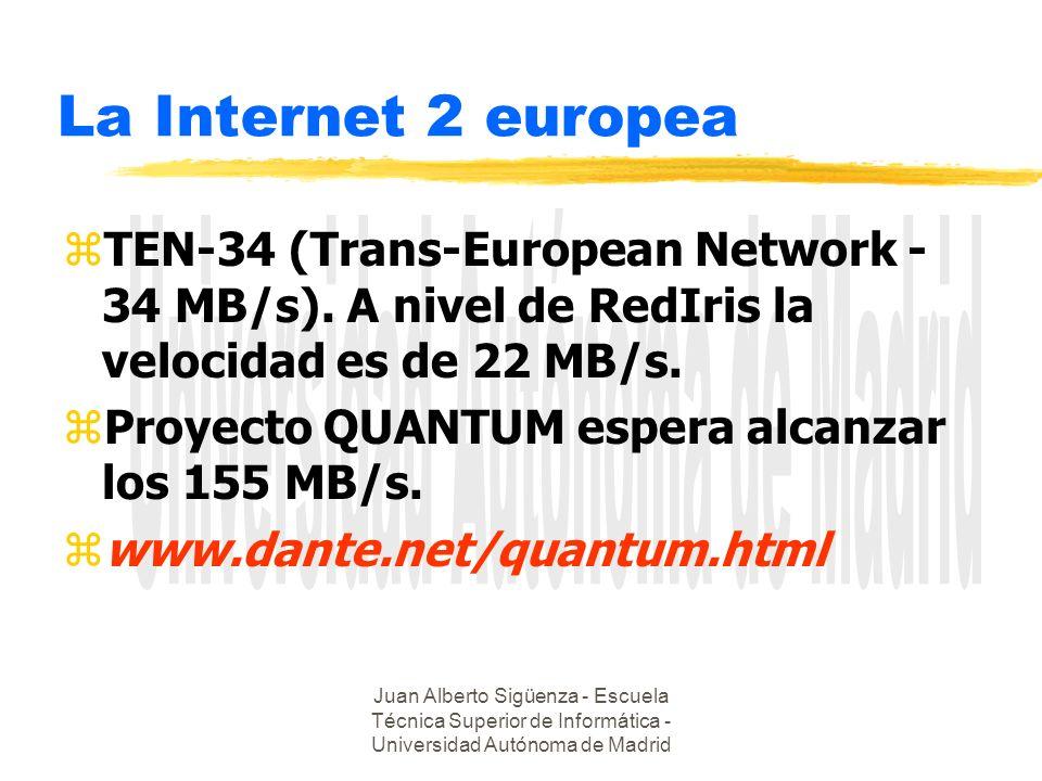 Juan Alberto Sigüenza - Escuela Técnica Superior de Informática - Universidad Autónoma de Madrid La Internet 2 europea zTEN-34 (Trans-European Network - 34 MB/s).