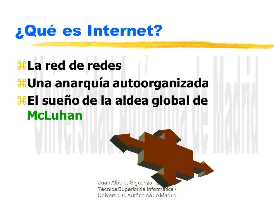 Juan Alberto Sigüenza - Escuela Técnica Superior de Informática - Universidad Autónoma de Madrid ¿Qué es Internet? zLa red de redes zUna anarquía auto