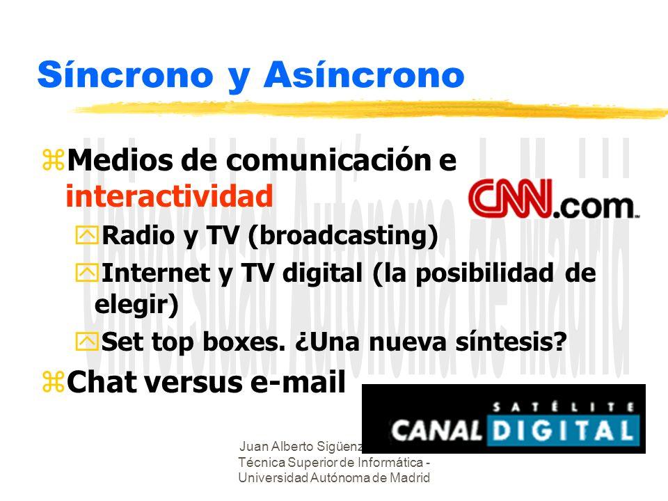 Juan Alberto Sigüenza - Escuela Técnica Superior de Informática - Universidad Autónoma de Madrid Síncrono y Asíncrono zMedios de comunicación e intera