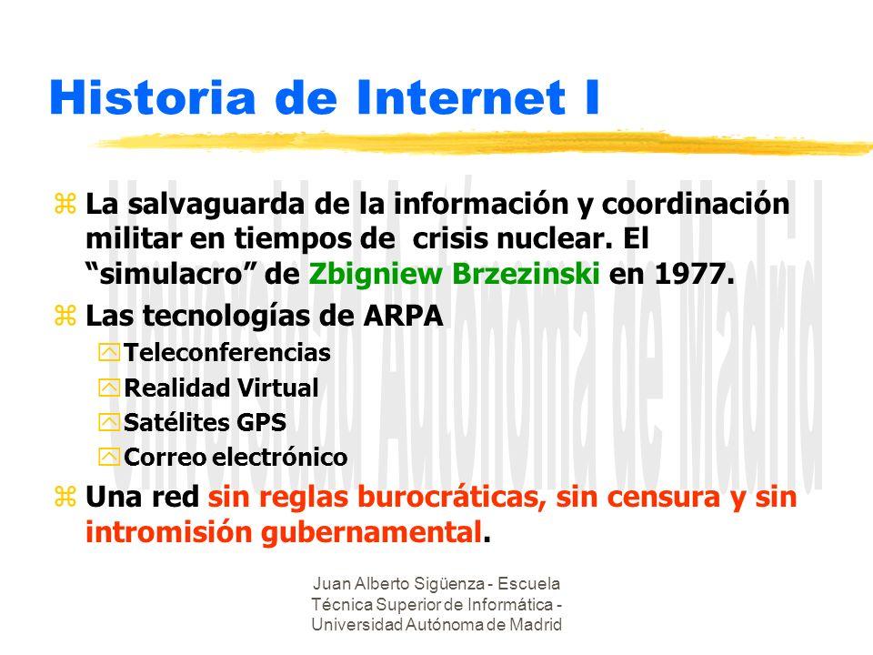 Juan Alberto Sigüenza - Escuela Técnica Superior de Informática - Universidad Autónoma de Madrid Historia de Internet I zLa salvaguarda de la información y coordinación militar en tiempos de crisis nuclear.