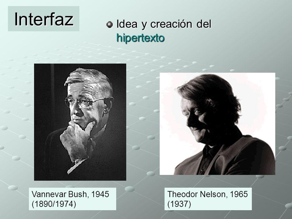 Idea y creación del hipertexto Interfaz Vannevar Bush, 1945 (1890/1974) Theodor Nelson, 1965 (1937)