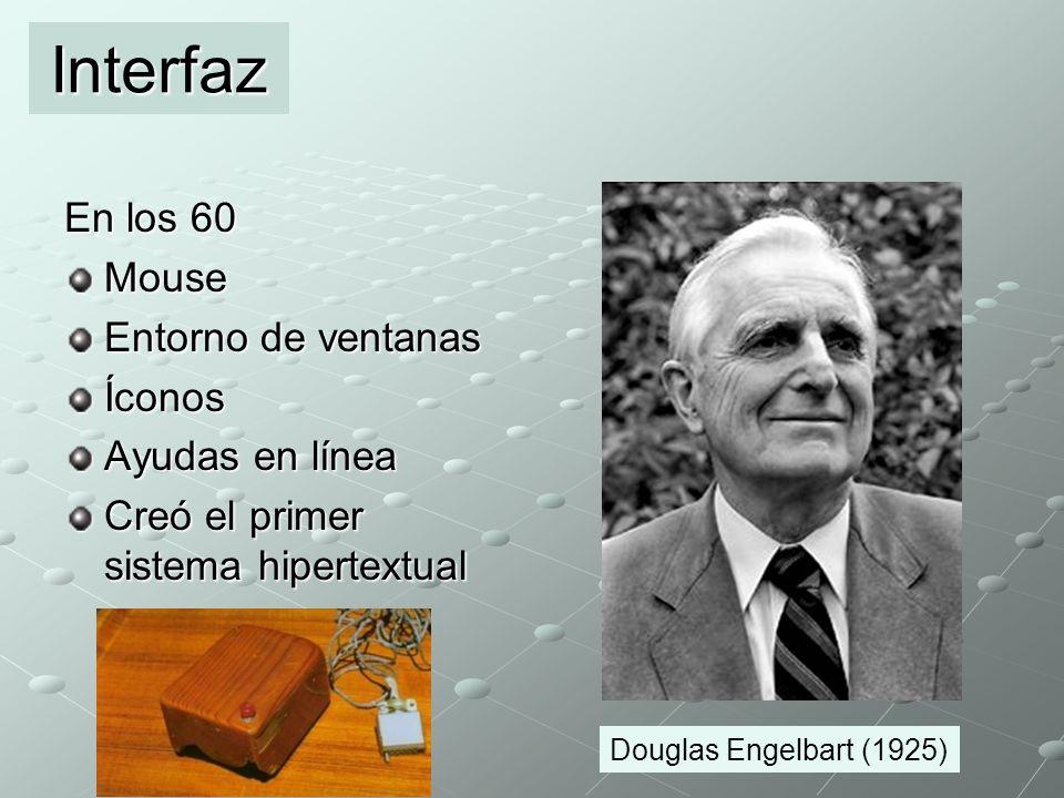 En los 60 Mouse Entorno de ventanas Íconos Ayudas en línea Creó el primer sistema hipertextual Interfaz Douglas Engelbart (1925)