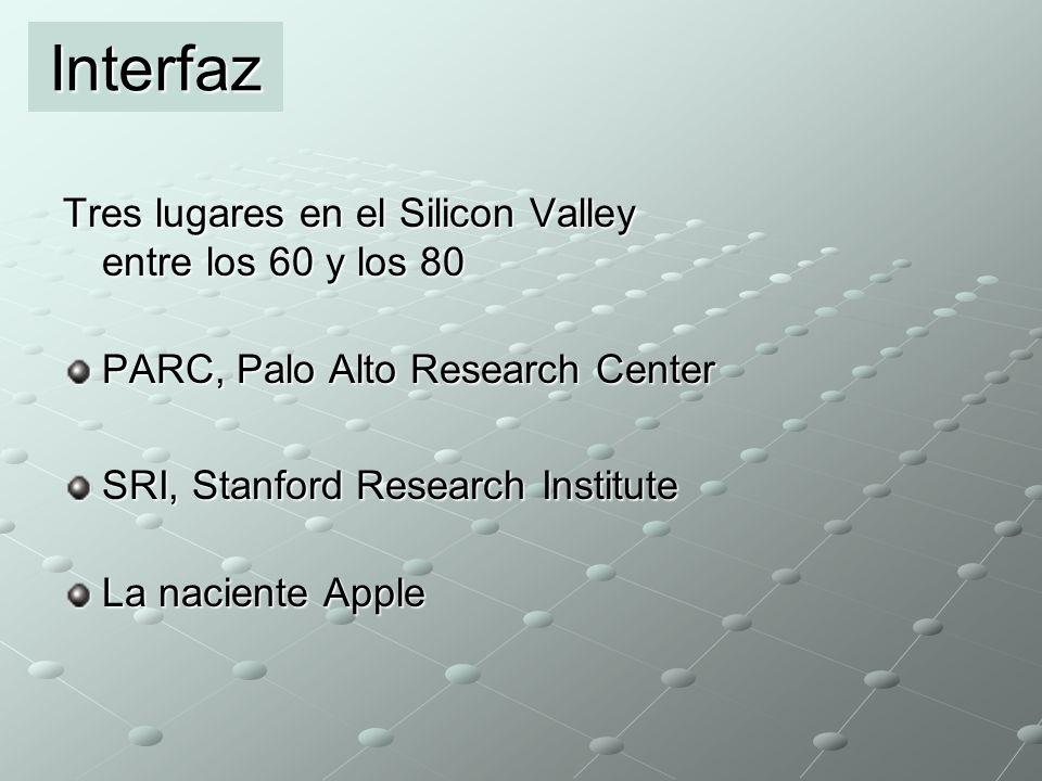 Tres lugares en el Silicon Valley entre los 60 y los 80 PARC, Palo Alto Research Center SRI, Stanford Research Institute La naciente Apple Interfaz