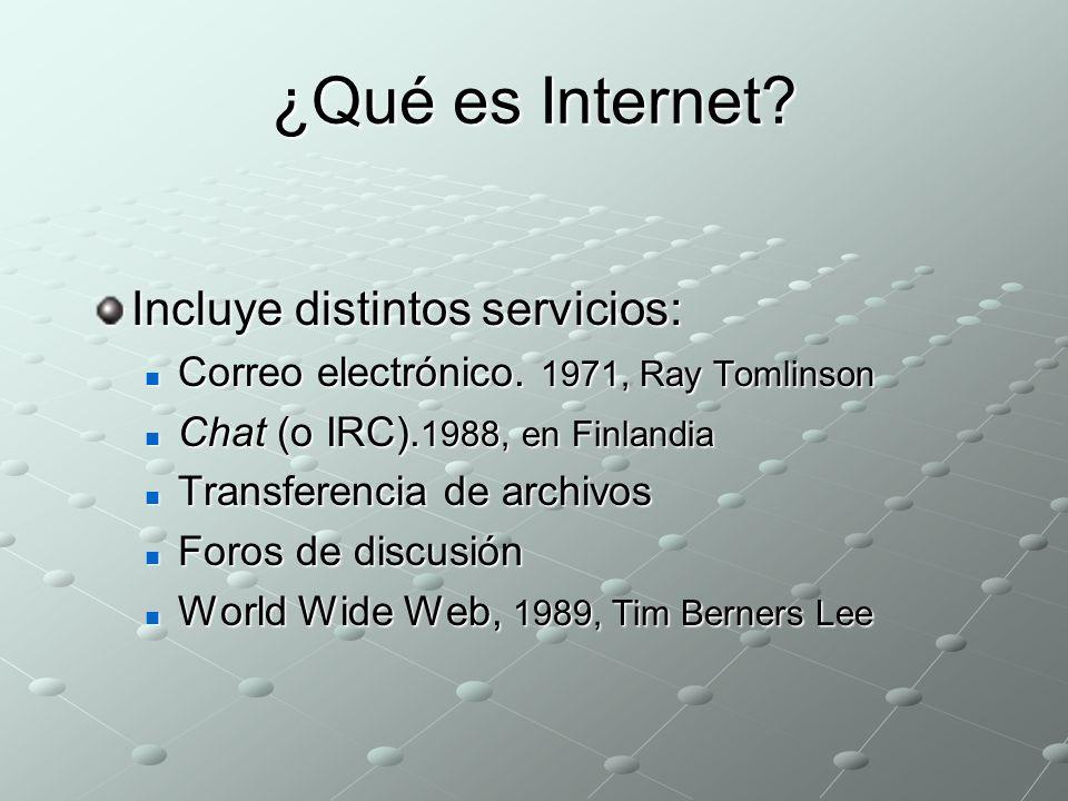 ¿Qué es Internet.Incluye distintos servicios: Correo electrónico.