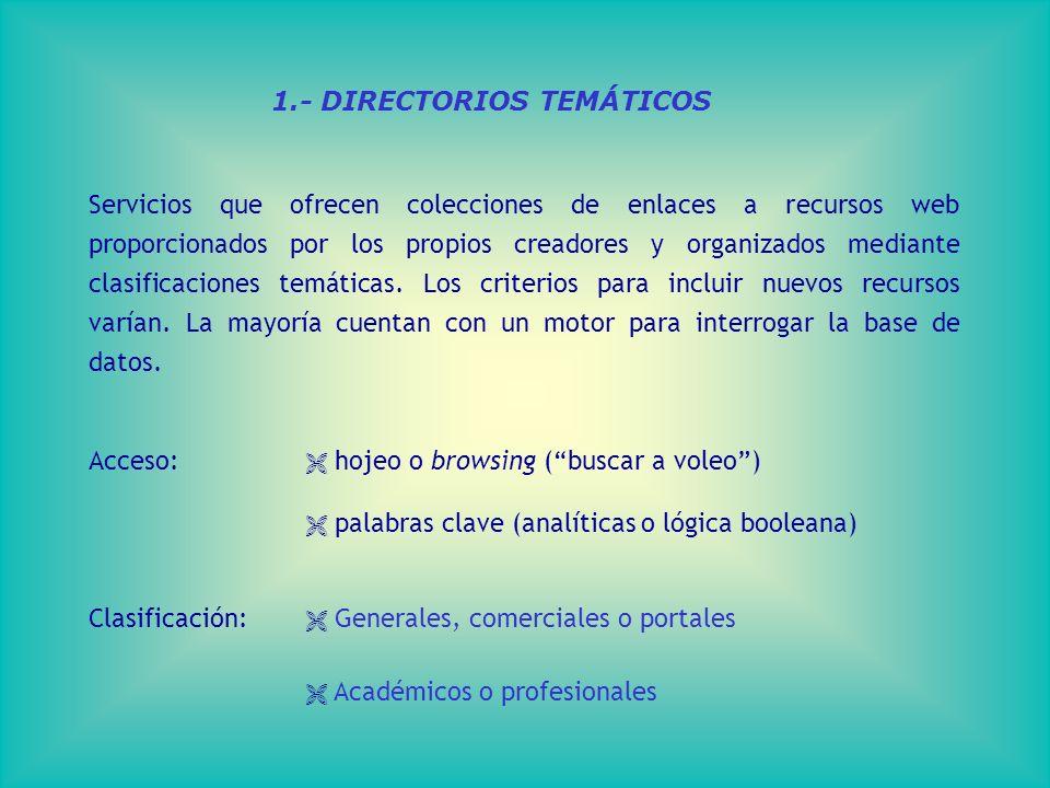 1.- DIRECTORIOS TEMÁTICOS Servicios que ofrecen colecciones de enlaces a recursos web proporcionados por los propios creadores y organizados mediante clasificaciones temáticas.
