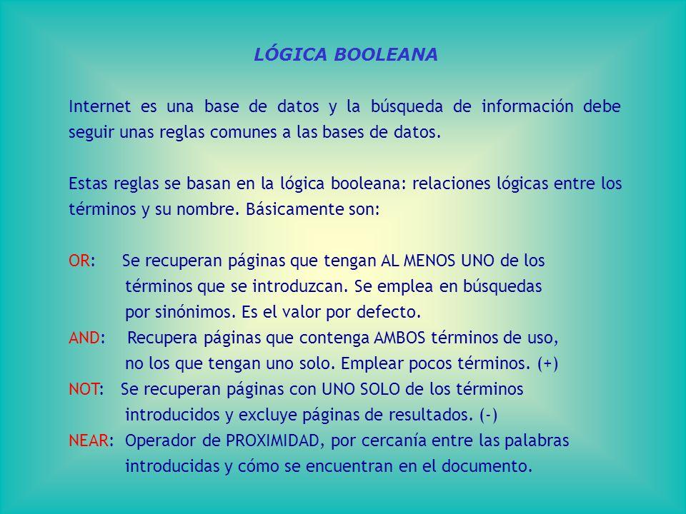 LÓGICA BOOLEANA Internet es una base de datos y la búsqueda de información debe seguir unas reglas comunes a las bases de datos.