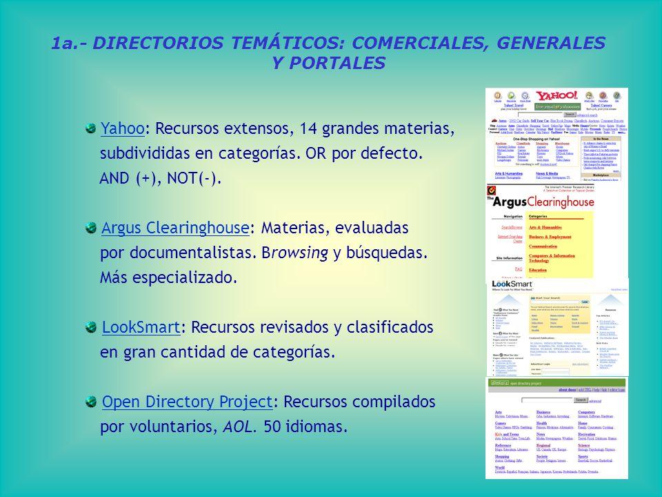 1a.- DIRECTORIOS TEMÁTICOS: COMERCIALES, GENERALES Y PORTALES Yahoo: Recursos extensos, 14 grandes materias, Yahoo subdivididas en categorías.