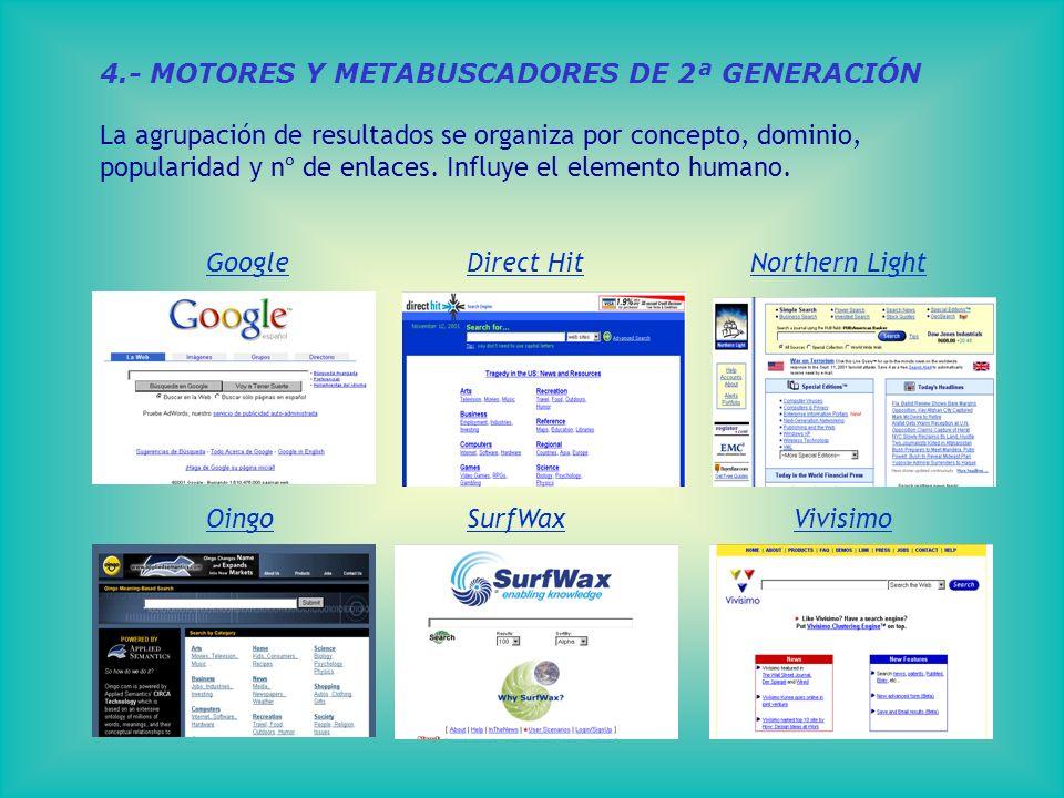 4.- MOTORES Y METABUSCADORES DE 2ª GENERACIÓN La agrupación de resultados se organiza por concepto, dominio, popularidad y nº de enlaces.
