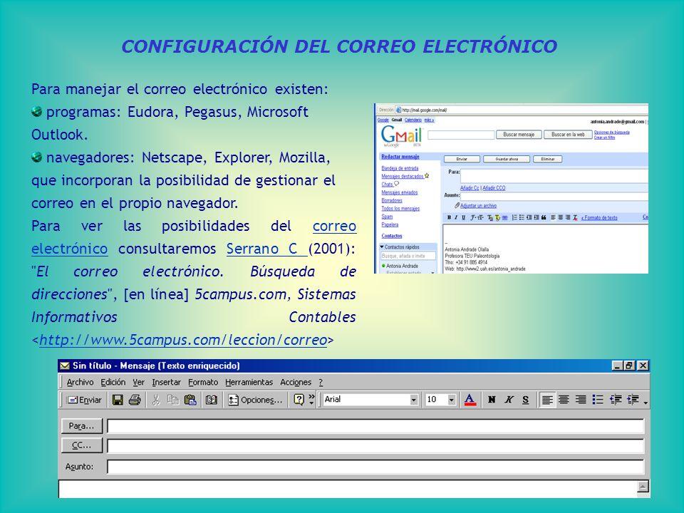 CONFIGURACIÓN DEL CORREO ELECTRÓNICO Para manejar el correo electrónico existen: programas: Eudora, Pegasus, Microsoft Outlook.