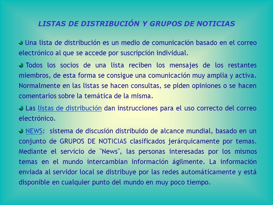 LISTAS DE DISTRIBUCIÓN Y GRUPOS DE NOTICIAS Una lista de distribución es un medio de comunicación basado en el correo electrónico al que se accede por suscripción individual.