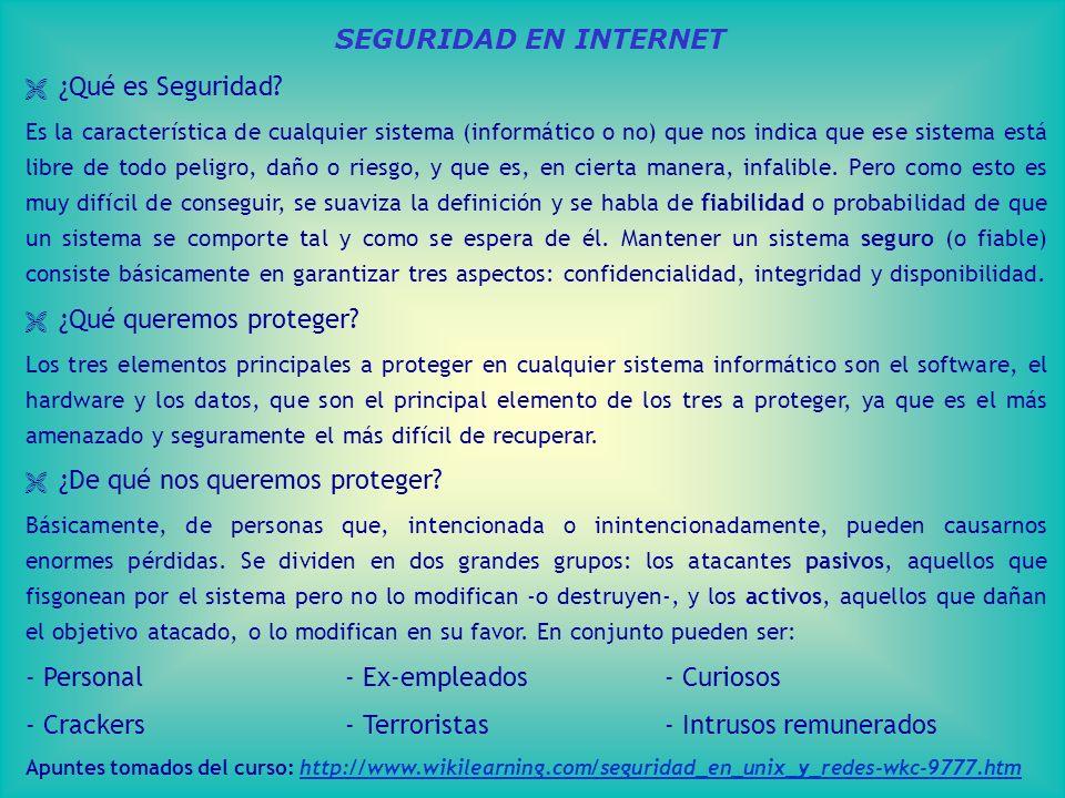 SEGURIDAD EN INTERNET ¿Qué es Seguridad.