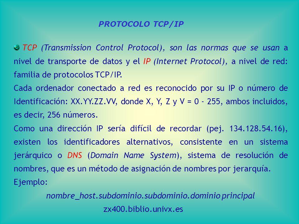 TCP (Transmission Control Protocol), son las normas que se usan a nivel de transporte de datos y el IP (Internet Protocol), a nivel de red: familia de protocolos TCP/IP.