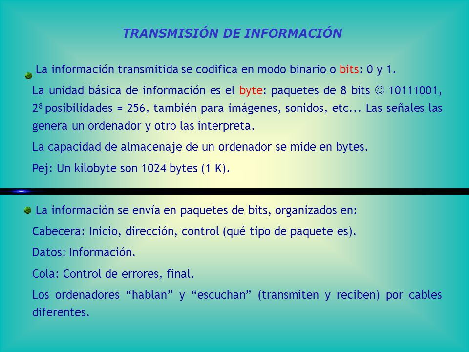 TRANSMISIÓN DE INFORMACIÓN La información transmitida se codifica en modo binario o bits: 0 y 1.