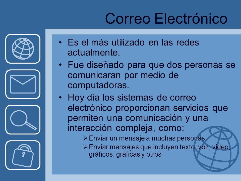 Correo Electrónico Es el más utilizado en las redes actualmente.