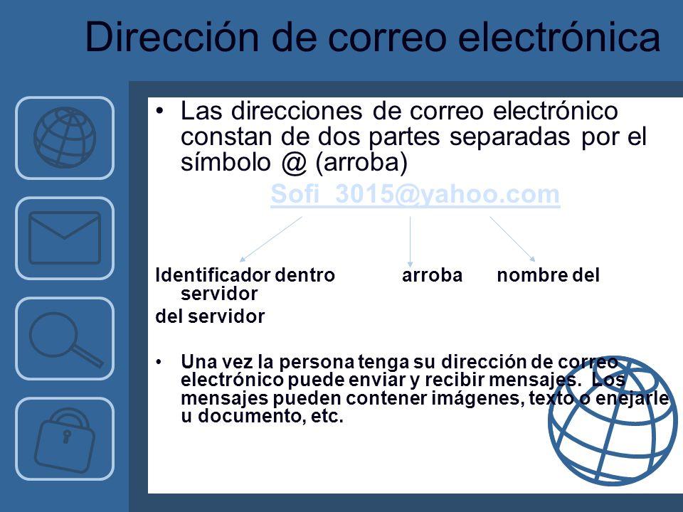 Dirección de correo electrónica Las direcciones de correo electrónico constan de dos partes separadas por el símbolo @ (arroba) Sofi_3015@yahoo.com Identificador dentro arrobanombre del servidor del servidor Una vez la persona tenga su dirección de correo electrónico puede enviar y recibir mensajes.