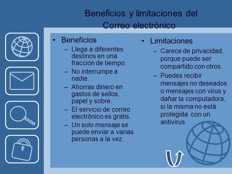 Beneficios y limitaciones del Correo electrónico Beneficios –Llega a diferentes destinos en una fracción de tiempo.