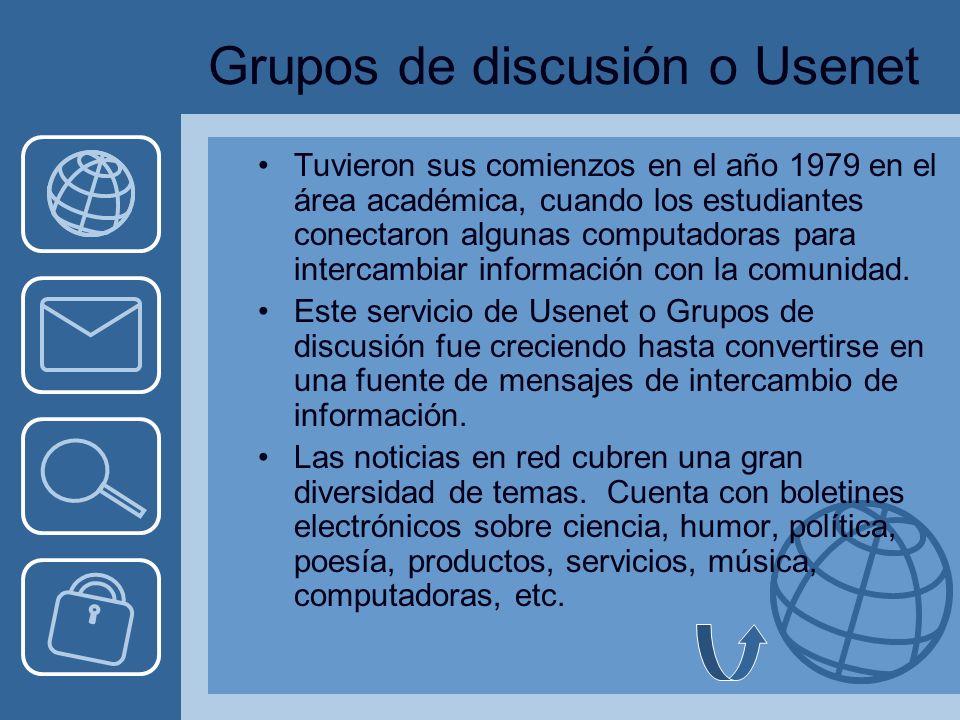 Grupos de discusión o Usenet Tuvieron sus comienzos en el año 1979 en el área académica, cuando los estudiantes conectaron algunas computadoras para intercambiar información con la comunidad.