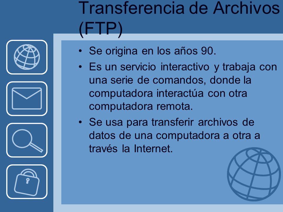 Transferencia de Archivos (FTP) Se origina en los años 90.