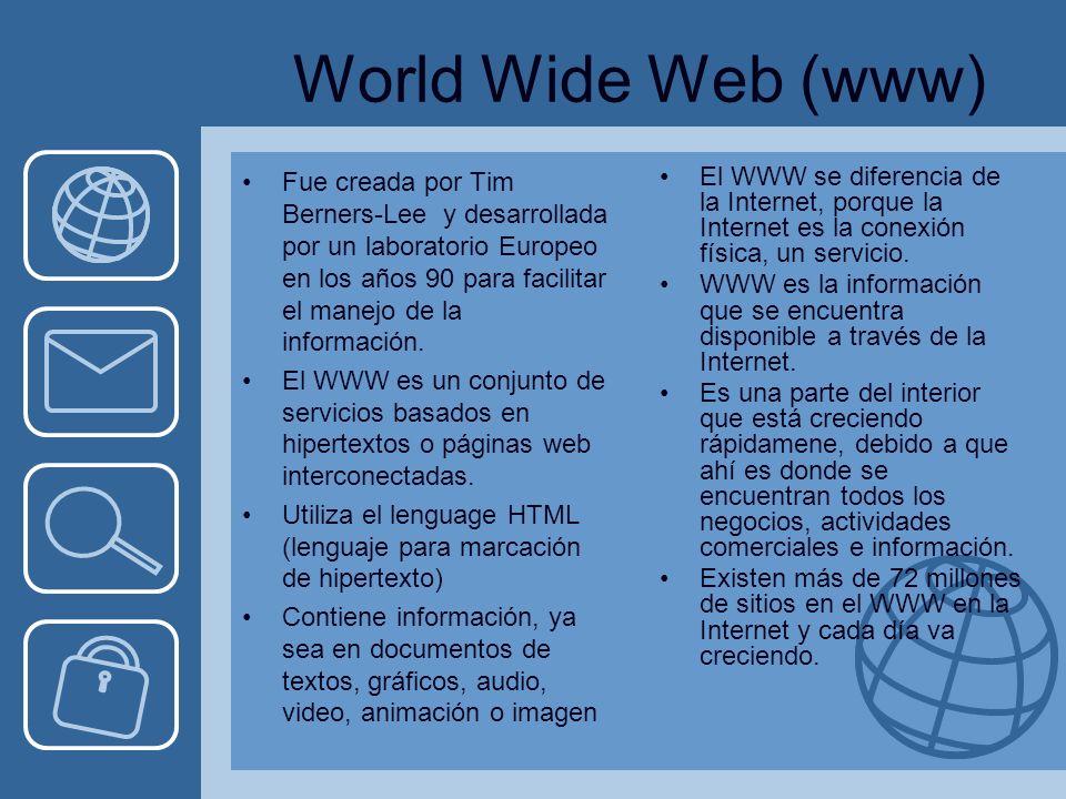 World Wide Web (www) Fue creada por Tim Berners-Lee y desarrollada por un laboratorio Europeo en los años 90 para facilitar el manejo de la información.