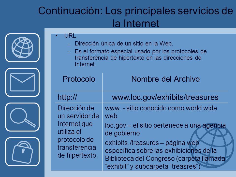 Continuación: Los principales servicios de la Internet URL –Dirección única de un sitio en la Web.