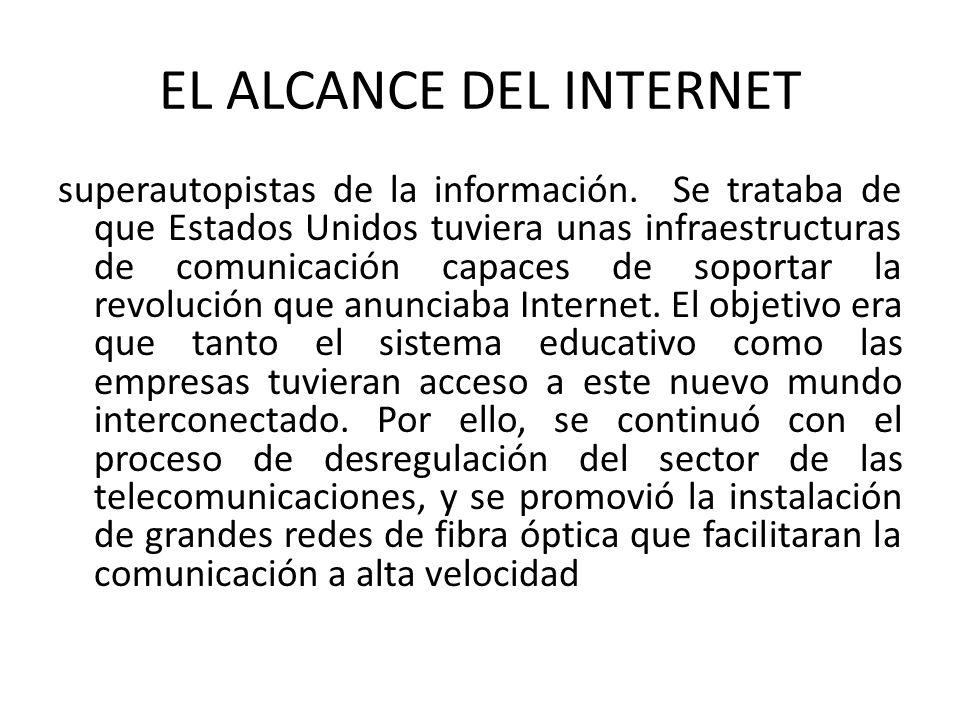 EL ALCANCE DEL INTERNET superautopistas de la información. Se trataba de que Estados Unidos tuviera unas infraestructuras de comunicación capaces de s