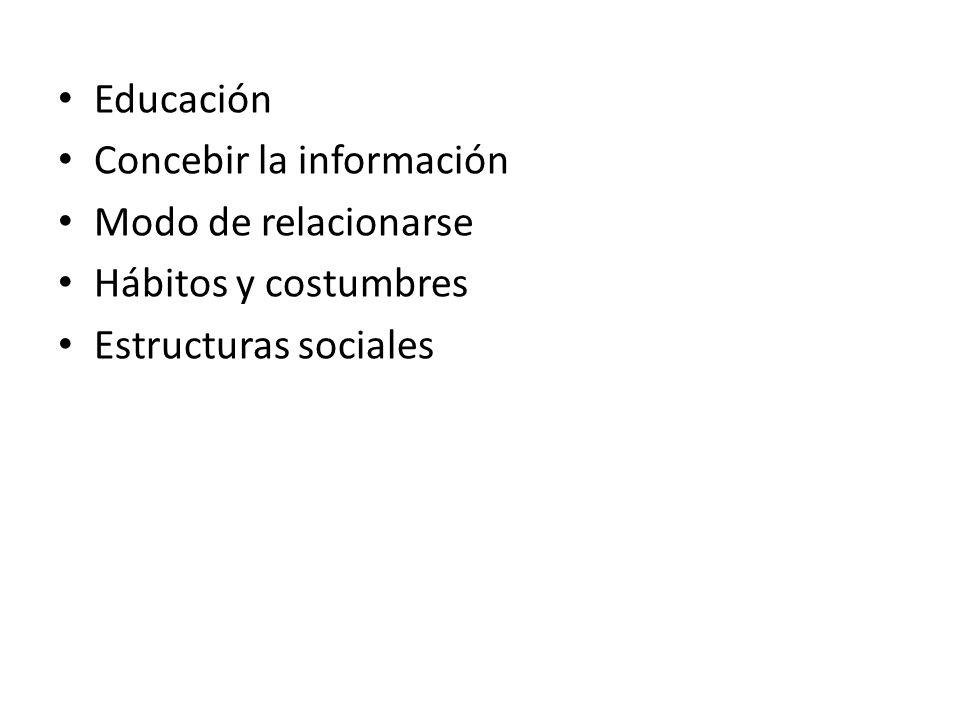 Educación Concebir la información Modo de relacionarse Hábitos y costumbres Estructuras sociales