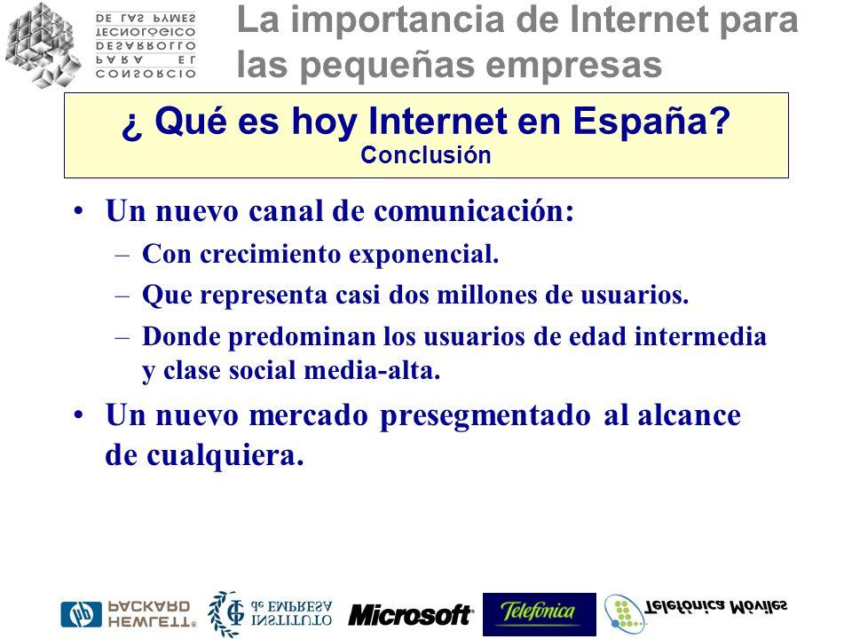 La importancia de Internet para las pequeñas empresas ¿ Qué es hoy Internet en España? Conclusión Un nuevo canal de comunicación: –Con crecimiento exp