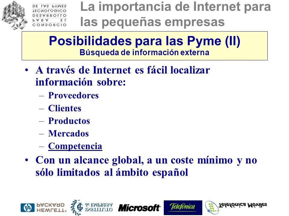 La importancia de Internet para las pequeñas empresas Posibilidades para las Pyme (II) Búsqueda de información externa A través de Internet es fácil localizar información sobre: –Proveedores –Clientes –Productos –Mercados –Competencia Con un alcance global, a un coste mínimo y no sólo limitados al ámbito español