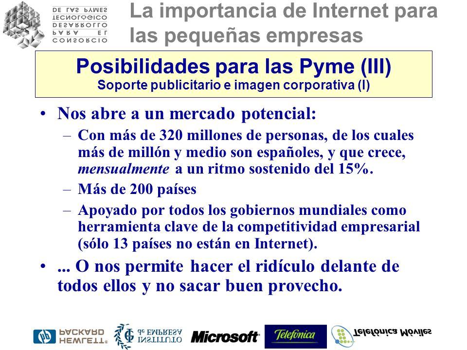 La importancia de Internet para las pequeñas empresas Posibilidades para las Pyme (III) Soporte publicitario e imagen corporativa (I) Nos abre a un mercado potencial: –Con más de 320 millones de personas, de los cuales más de millón y medio son españoles, y que crece, mensualmente a un ritmo sostenido del 15%.