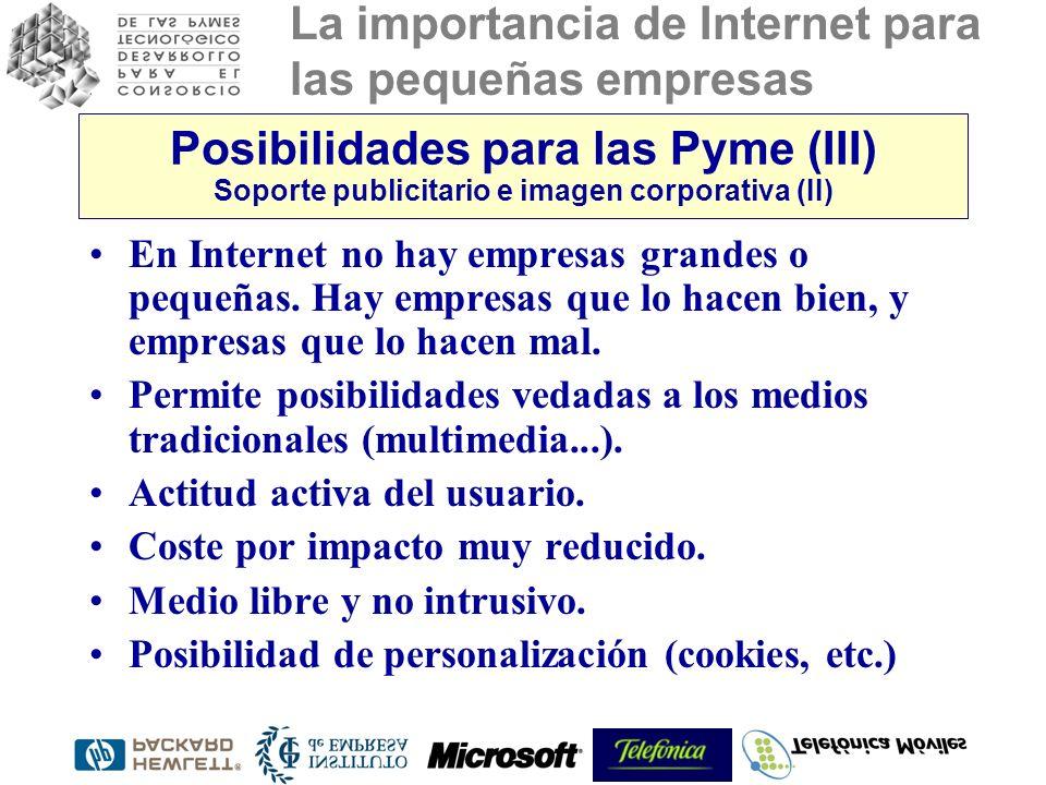 La importancia de Internet para las pequeñas empresas Posibilidades para las Pyme (III) Soporte publicitario e imagen corporativa (II) En Internet no hay empresas grandes o pequeñas.