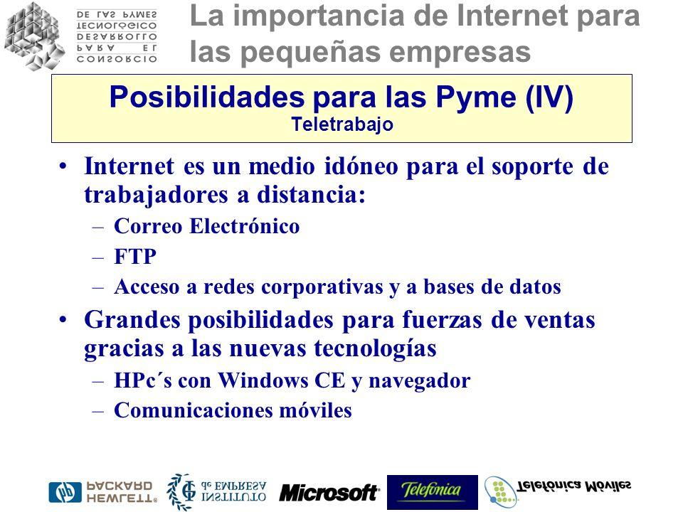 La importancia de Internet para las pequeñas empresas Posibilidades para las Pyme (IV) Teletrabajo Internet es un medio idóneo para el soporte de trabajadores a distancia: –Correo Electrónico –FTP –Acceso a redes corporativas y a bases de datos Grandes posibilidades para fuerzas de ventas gracias a las nuevas tecnologías –HPc´s con Windows CE y navegador –Comunicaciones móviles