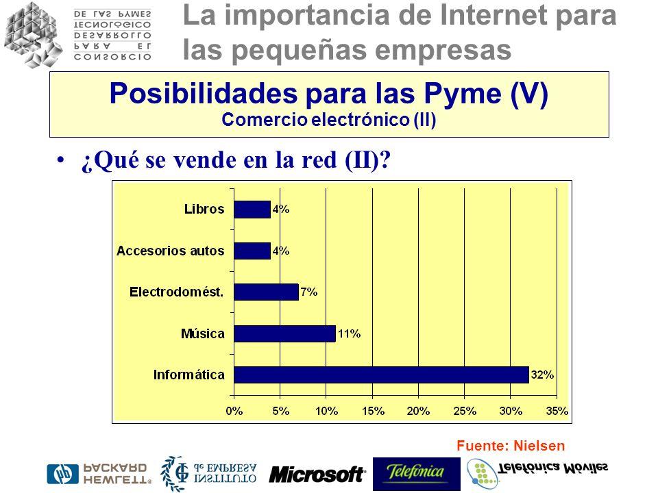 La importancia de Internet para las pequeñas empresas Posibilidades para las Pyme (V) Comercio electrónico (II) ¿Qué se vende en la red (II)? Fuente: