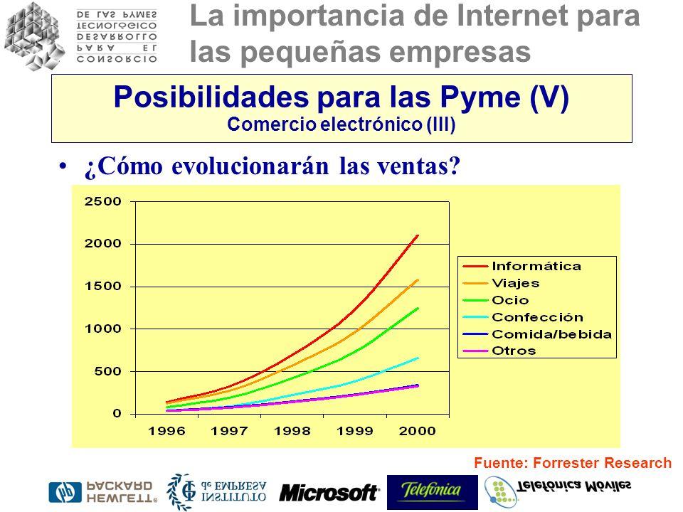 La importancia de Internet para las pequeñas empresas Posibilidades para las Pyme (V) Comercio electrónico (III) ¿Cómo evolucionarán las ventas? Fuent