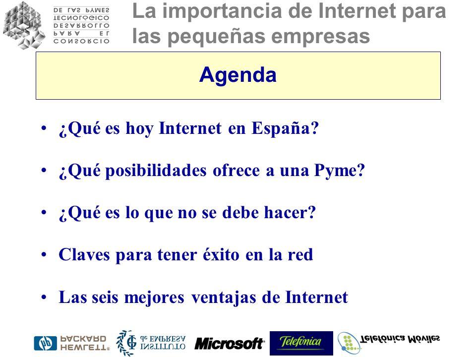 La importancia de Internet para las pequeñas empresas Agenda ¿Qué es hoy Internet en España? ¿Qué posibilidades ofrece a una Pyme? ¿Qué es lo que no s