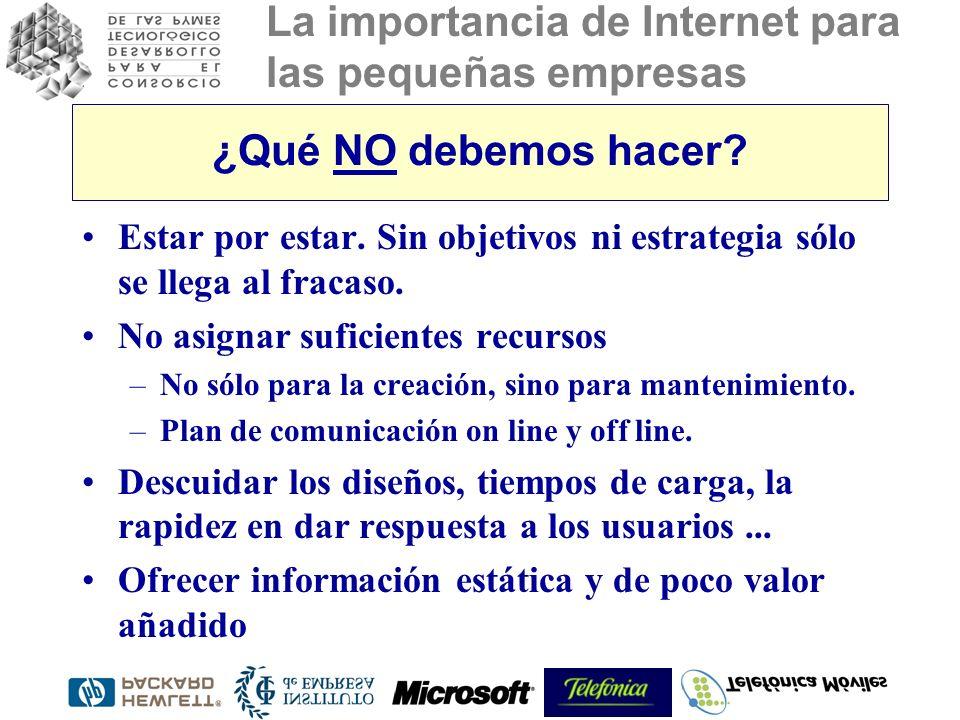La importancia de Internet para las pequeñas empresas ¿Qué NO debemos hacer? Estar por estar. Sin objetivos ni estrategia sólo se llega al fracaso. No
