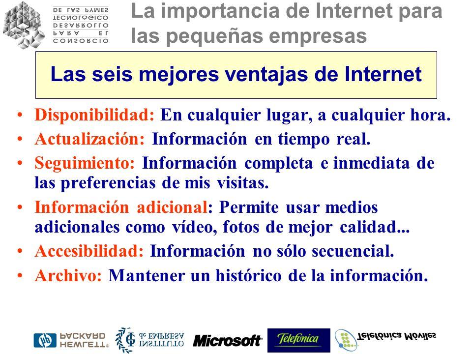 La importancia de Internet para las pequeñas empresas Las seis mejores ventajas de Internet Disponibilidad: En cualquier lugar, a cualquier hora.