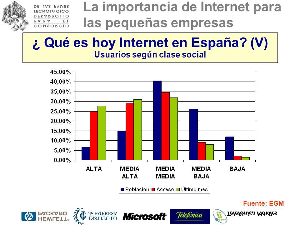 La importancia de Internet para las pequeñas empresas Fuente: EGM ¿ Qué es hoy Internet en España? (V) Usuarios según clase social