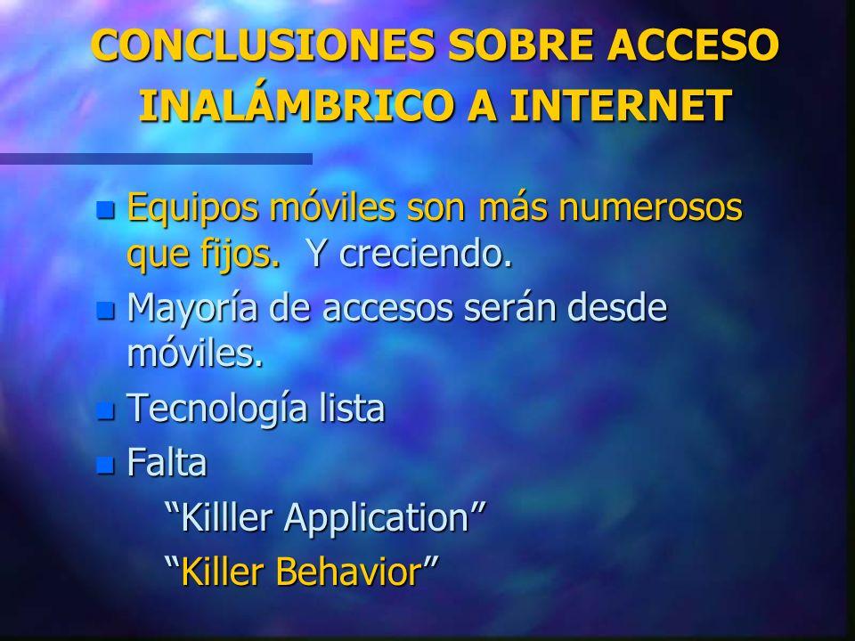 CONCLUSIONES SOBRE ACCESO INALÁMBRICO A INTERNET n Equipos móviles son más numerosos que fijos. Y creciendo. n Mayoría de accesos serán desde móviles.