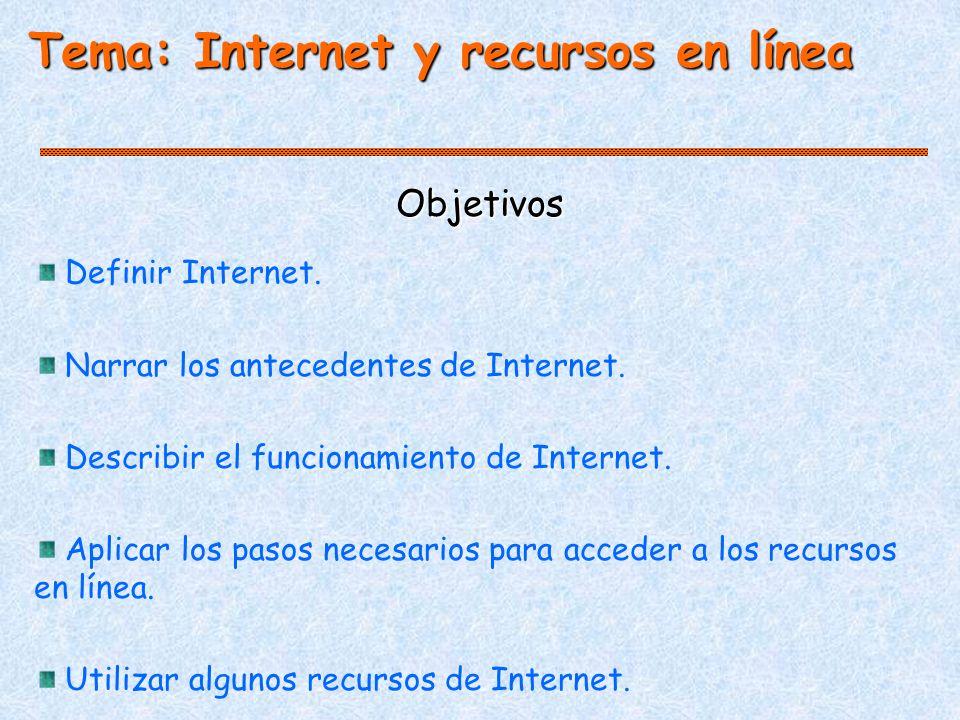 Objetivos Tema: Internet y recursos en línea Definir Internet.