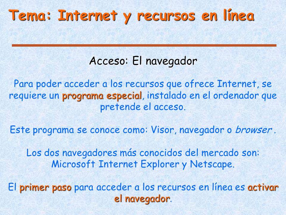 Tema: Internet y recursos en línea Acceso: El navegador programa especial Para poder acceder a los recursos que ofrece Internet, se requiere un programa especial, instalado en el ordenador que pretende el acceso.