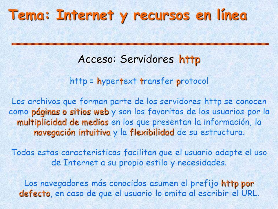 Tema: Internet y recursos en línea Acceso: Servidores http http http = hypertext transfer protocol páginas o sitios web multiplicidad de medios navegación intuitivaflexibilidad Los archivos que forman parte de los servidores http se conocen como páginas o sitios web y son los favoritos de los usuarios por la multiplicidad de medios en los que presentan la información, la navegación intuitiva y la flexibilidad de su estructura.