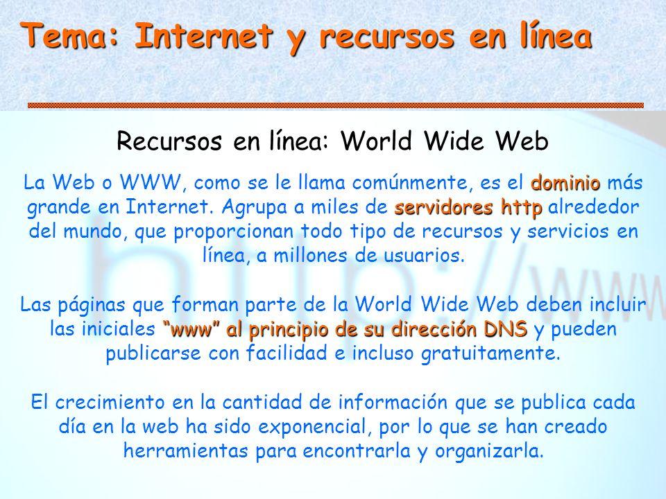 Tema: Internet y recursos en línea Recursos en línea: World Wide Web dominio servidores http La Web o WWW, como se le llama comúnmente, es el dominio más grande en Internet.